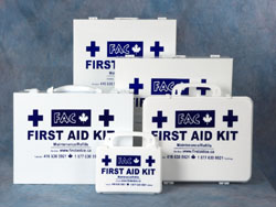 An assortment of First Aid Kits. Click on the picture to enlarge it.